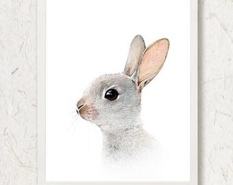 Cute Bunny Print Neutral Nursery Decor Woodland Baby Animal Forest Bunny Picture Baby Room Easter Decor Rabbit Peekaboo Animals Watercolor