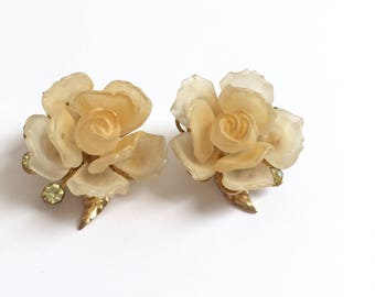 Vintage Kramer Light Yellow Rose And Pastel Green Rhinestone Earrings From The 1960s