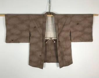 D867 Vintage 80s Japanese Haori Kimono Womens Silk Cardigan Jacket Brown