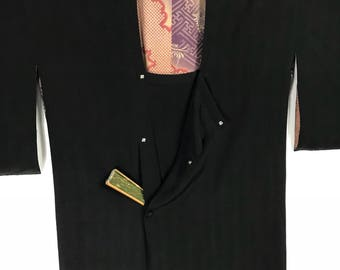 D896 Vintage 50s Japanese Haori Kimono Womens Silk Cardigan Jacket Black