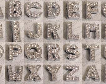 10 PCs Silver Or Gold Slide Letters Capital Letter Slider Spacer Beads Pendant Charm, Finding, Rhinestone for Bracelet & Necklace