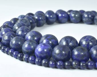 Natural Lapis Lazuli Round Stone Beads 4mm/4.5mm/6mm/8mm/10mm/12mm Sold by String