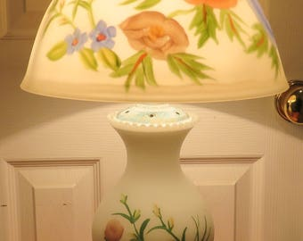 Vintage Reverse Painted Frosted Table Lamp Floral Bedroom Entry Living Room