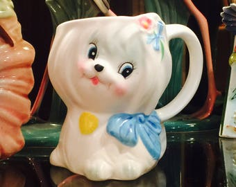 Lefton Mr. Toodles White Maltese Puppy Children's Mug Cup made in Japan circa 1950s