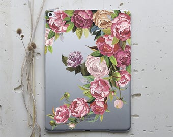 iPad Pro 12.9 Hard Case iPad Cover Peonies Floral iPad Case iPad Mini 4 Case Transparent iPad Mini Case iPad Air 2 Case iPad Smart WC4014