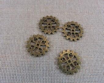 5pcs, steampunk gears, COGS Steampunk bronze metal, set of 5 pendants, 18mm, creating steampunk jewelry gears