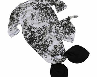 Alice's Floral | Baby Girl Knot Newborn Layette Knot Gown, Hat Set | Baby Girl Going Home Outfit | Mermaid Knot Gown | Black & Gray