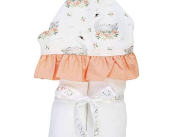 Swan Lake | Full Size Toddler Hooded Towel | Peach, Swan, and Ruffle | Baby Shower Gift | Girl Shower Gift