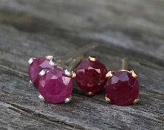 Ruby stud earrings / Tiny ruby earrings / Gold filled / Sterling silver / Genuine rubies / July birthstone earrings / Gift for her / 3mm