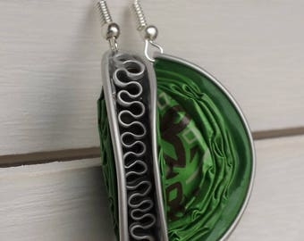 "Earrings capsule coffee ""?"" recycled green font"