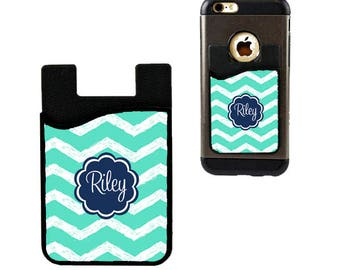 Monogram Cell Phone Card Holder Caddy Phone Wallet - Custom Design Monogrammed Personalized Gifts - ID Credit Card iPhone