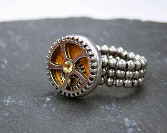 Ring gears gear steampunk ring with silver gear and Golden rhinestone of gold silver steampunk with stretchy ring band