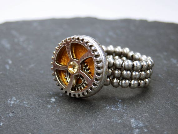 Ring gear steampunk ring with silvery gear and gold yellow rhinestone gold silver steampunk gears with elastic ring ribbon