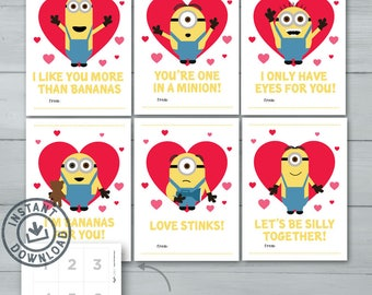 Kids Valentine Cards  |  Minions Valentines  |   Despicable Me Minion, Kevin, Stuart, Bob, Mel, Carl Valentine Cards  |   Instant Download