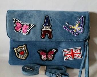 Women light blue denim patch badge clutch purse evening bag