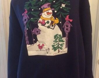 Christmas ugly sweatshirt with Snowmen, birds and birdhouses