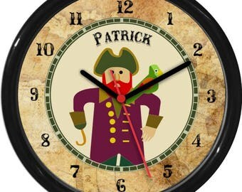 "Kids Pirate Captain Personalized 10"" Wall Clock Kids & Teenagers / Children Wall Clock Gift Shower Gift"