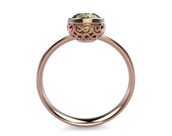 Peridot Rose Gold Engagement Ring Rose Gold Peridot Ring Peridot Engagement Ring Gemstone Ring Peridot Ring Peridot August Birthstone Ring