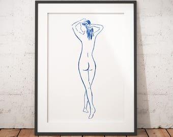nude woman print sensual erotic print nude print minimalist erotic bedroom art nude watercolor erotic art naked woman delicate erotic art