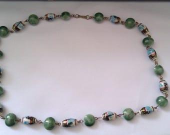 vintage ceramic bead necklace