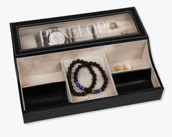 Personalized Name Jewelry And Watch Case - Leather Watch Box - Custom Jewelry Box - Valet Box - Dresser Tray - Accessory Box