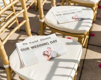 Newspaper Wedding Program Personalized 11x17 Inches Digital Download