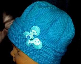 Winter Beanie Hat hand knitted baby size turquoise 1/3 months