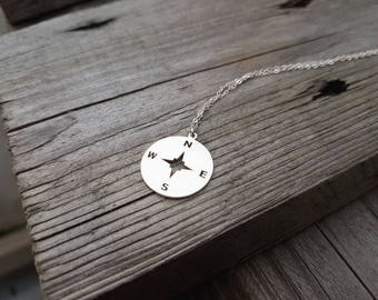 Wind rose / silver necklace/ minimal necklace /lucky / delicate jewelry