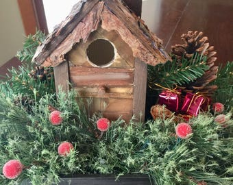 Birdhouse Christmas Wood Box Centerpieces Holiday Decor Home Decor Farmhouse Decor Tabletop Decor Gift Michelle Dornstreich