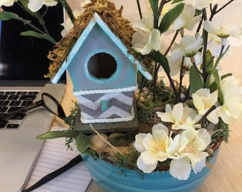 Teal Birdhouse Spring Centerpieces Easter Decor Home Tabletop Decor Desktop Farmhouse Decor Tabletop Decor Gift for mom Michelle Dornstreich