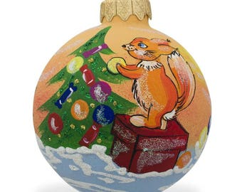 """3.25"""" Squirrel Decorating Christmas Tree Glass Ball Ornament"""