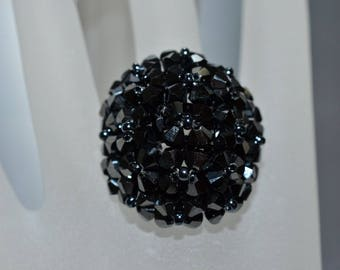 Crystal ring of Swarovski ball hematite color 2x