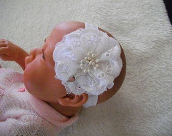 Baby girl baptism eyelet headband and a butterfly