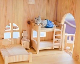 Two-story bed Wooden dollhouse furniture Montessori waldorf toys Christmas gift  Wooden toy furniture Wooden furniture for dollhouse