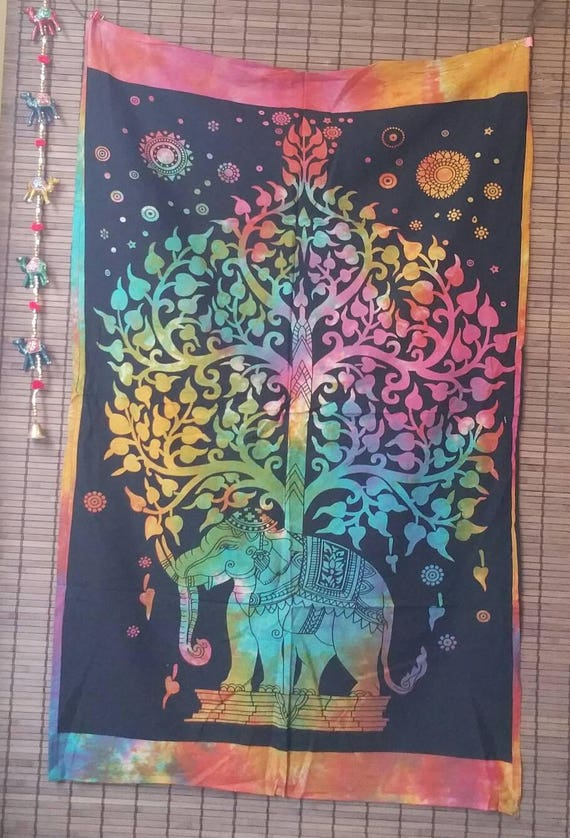 Bohemian Tree of Life Elephant Tapestry, Tiedye Wall Tapestry Hippie, Wall Tapestry Nature, Bohemian Tapestry, Hippie Wall Hanging