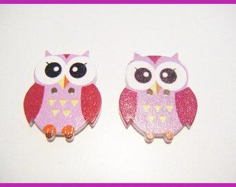 ♥ 2 wooden OWL - buttons ♥ violet purple tones