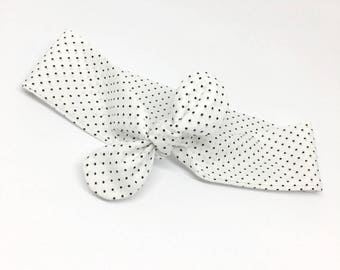 White headband with polka dots