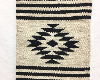 Peruvian wool textile, Tribal pattern wall hanging, black and white table runner, Hand loomed wool textile