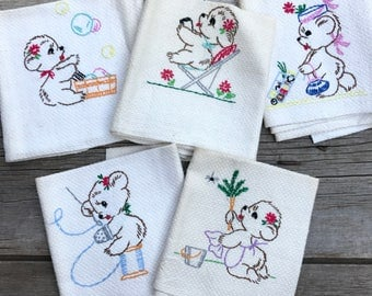hand embroidered bear towels