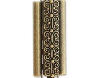 Elegant Elements Beadslide Clasp Loom Bracelet End Jewelry Supplies Bead Boho Findings Closure Squiggle Design 10MM X 29MM