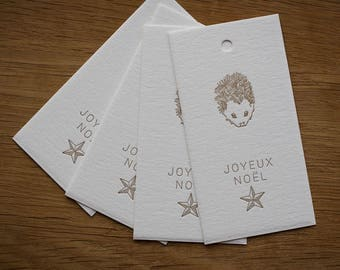 Set of 4 letterpress Merry Christmas labels