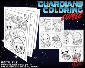 Tsum Tsum Guardians of the Galaxy Coloring Comic: Letter Size Digital Print Files