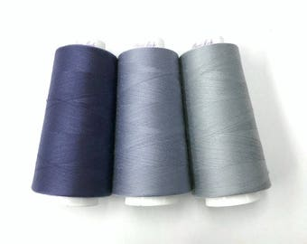 Serger thread, 3000 yards all purpose sewing thread by Maxi-lock pansy, lilac, light grey