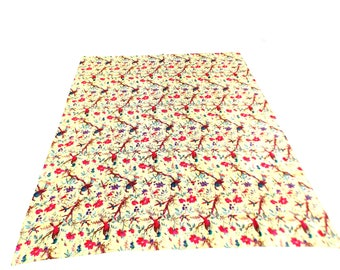 Paisley Design Indigo Handmade Kantha Throw Bedspread Reversible Vintage Quilt in Yellow Color