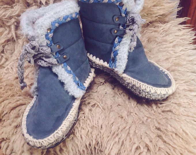Featured listing image: TANIT NIGHT Slipper Moccasin boots. Made bespoke only by order