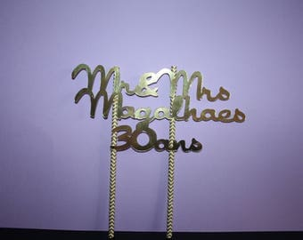 Gold or silver cake Topper wedding anniversary