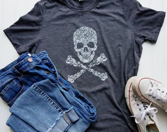Women's loose Fit botanical Skull Charcoal T-shirt