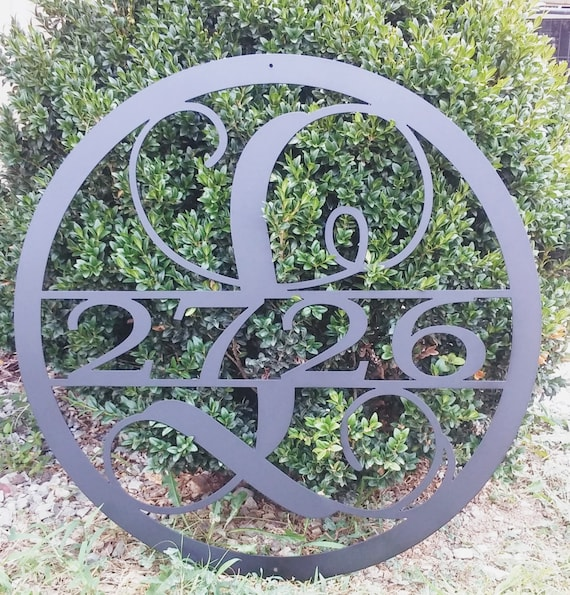 24 INCH Circle Monogram with House Numbers, Round Monogram Door Hanger, Custom Metal Sign with Address