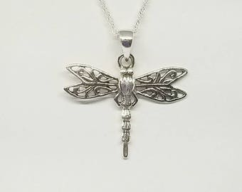 Dragonfly Necklace~Silver Dragonfly Pendant~925 Celtic Dragonfly Necklace~Silver Celtic Dragonflies~Dragonfly Lover Jewelry~Gift for Her