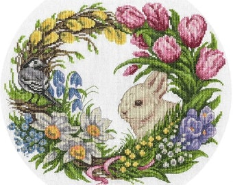 Counted Cross Stitch Kit Spring Wreath